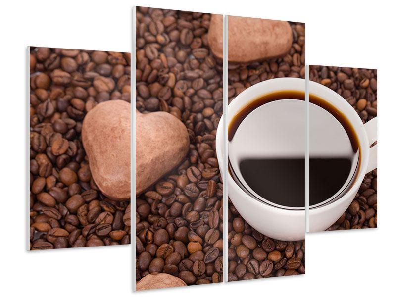 Hartschaumbild 4-teilig Pausenkaffee