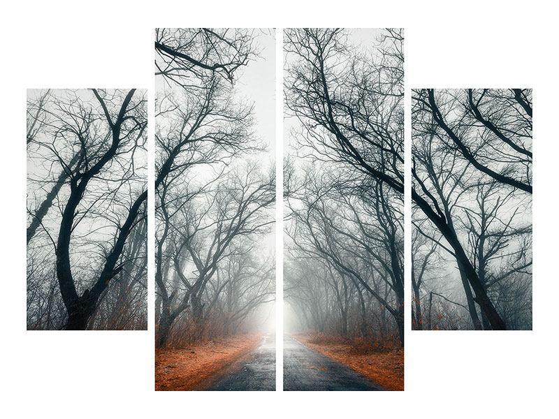 Hartschaumbild 4-teilig Mysteriöse Stimmung im Wald