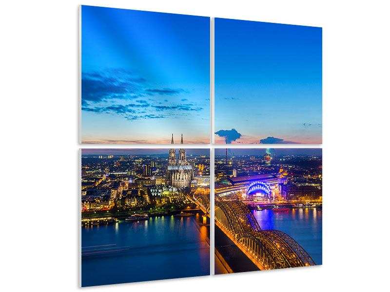 Hartschaumbild 4-teilig Skyline Ein Penthouse in Köln