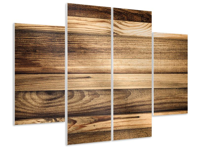 Hartschaumbild 4-teilig Holztrend