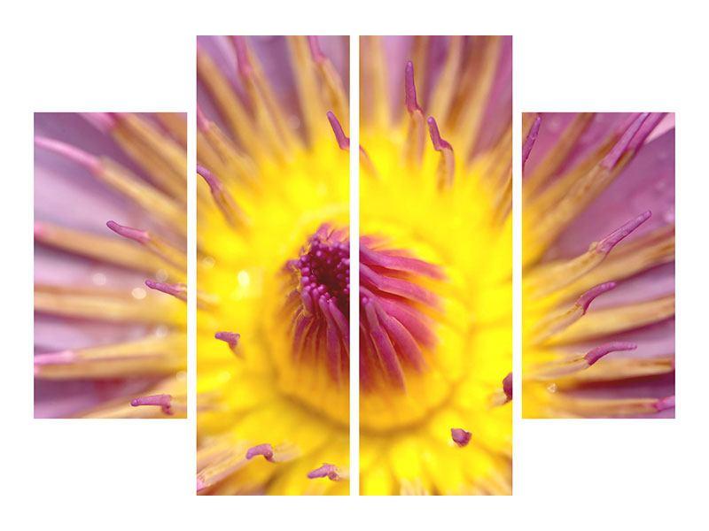 Hartschaumbild 4-teilig XXL-Lotus