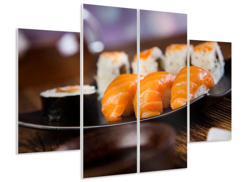 Hartschaumbild 4-teilig Sushi-Gericht