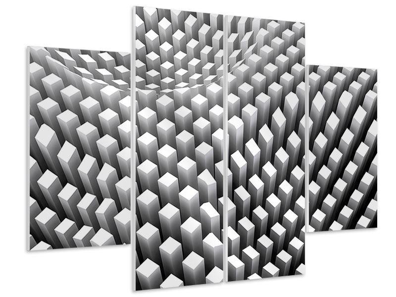 Hartschaumbild 4-teilig 3D-Rasterdesign