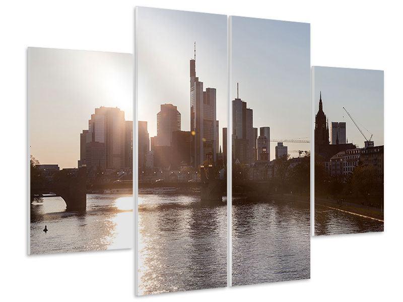 Hartschaumbild 4-teilig Skyline Sonnenaufgang bei Frankfurt am Main