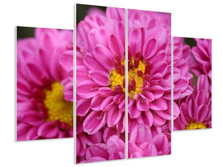 Hartschaumbild 4-teilig Chrysanthemen