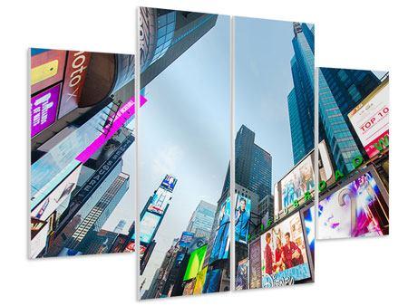 Hartschaumbild 4-teilig Shopping in NYC