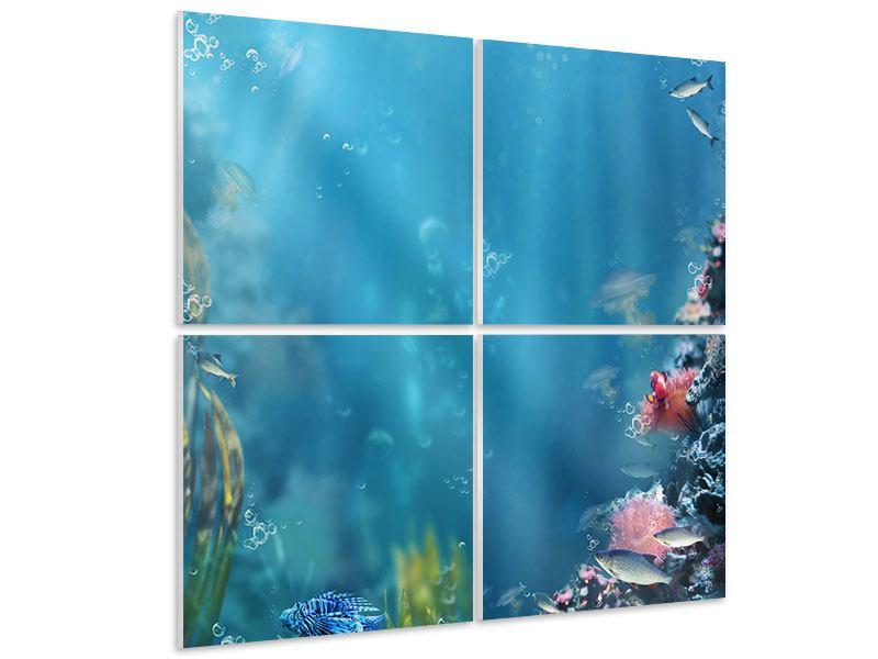 Hartschaumbild 4-teilig Unter Wasser