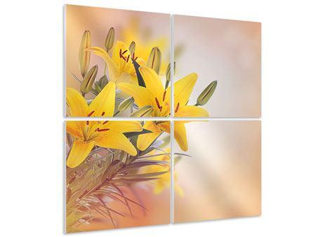 Hartschaumbild 4-teilig Gelbes Lilientrio