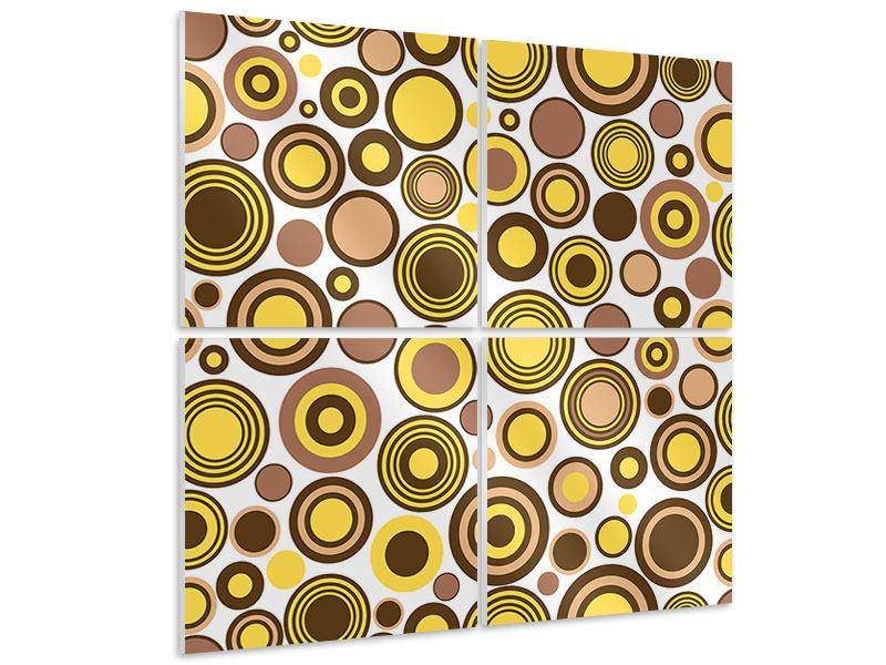 Hartschaumbild 4-teilig Kreise im Retrodesign