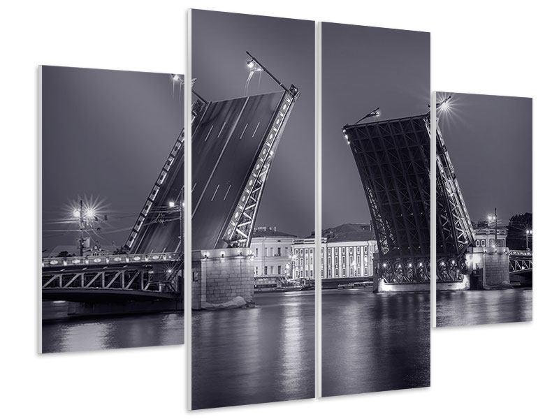 Hartschaumbild 4-teilig Klappbrücke bei Nacht