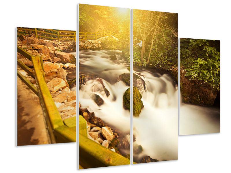 Hartschaumbild 4-teilig Sonnenuntergang am Wasserfall