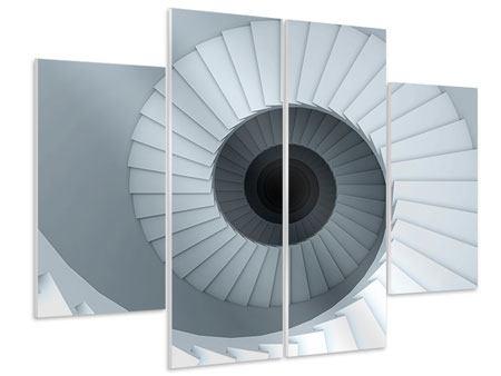 Hartschaumbild 4-teilig 3D Wendeltreppe