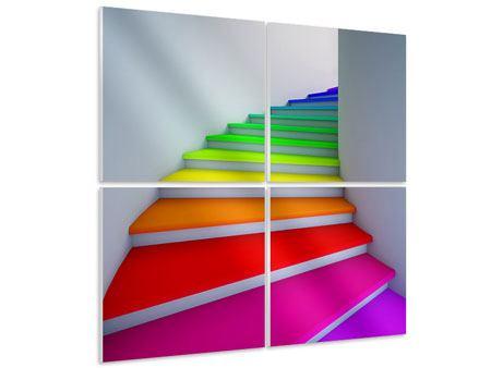 Hartschaumbild 4-teilig Bunte Treppe