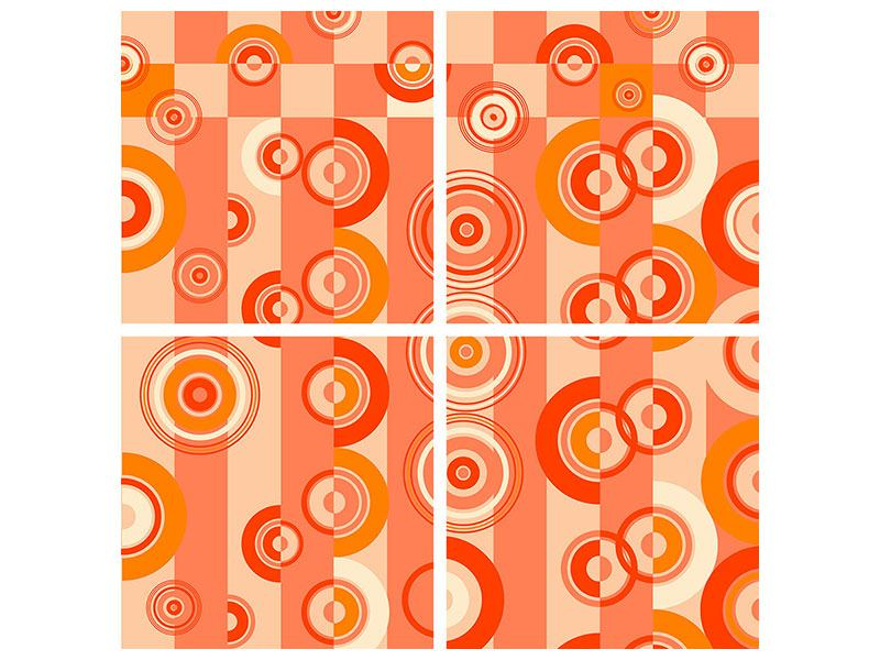 Hartschaumbild 4-teilig Bewegte Retro-Kreise