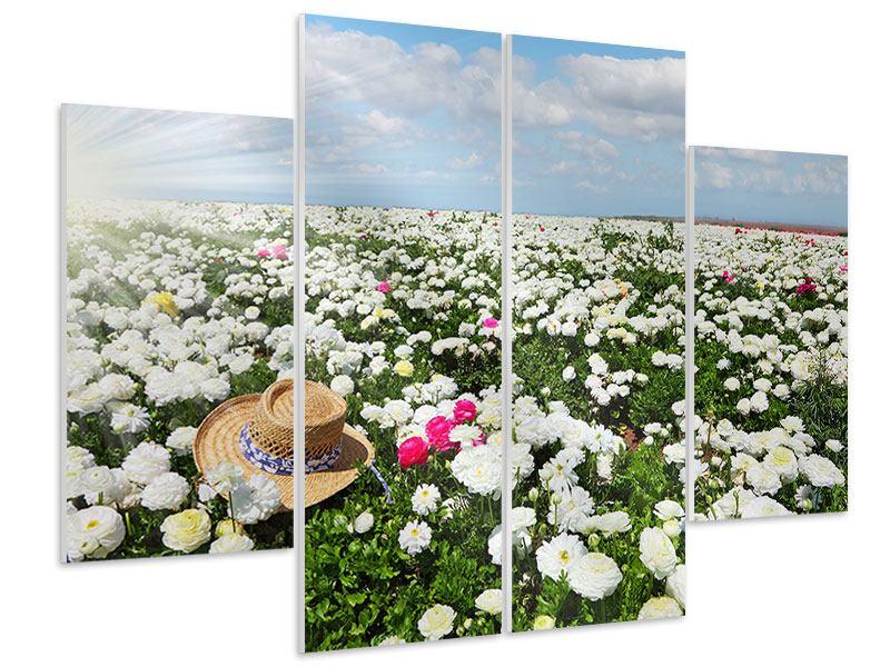 Hartschaumbild 4-teilig Die Frühlingsblumenwiese