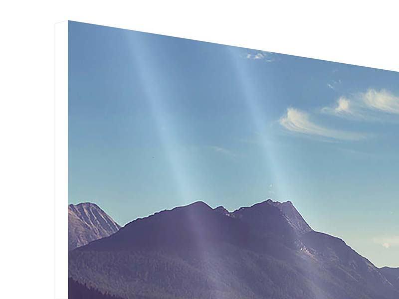 Hartschaumbild 4-teilig Bergspiegelung