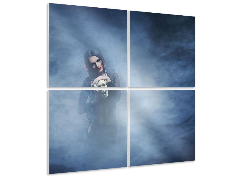 Hartschaumbild 4-teilig Das Geheimnis des Skulls