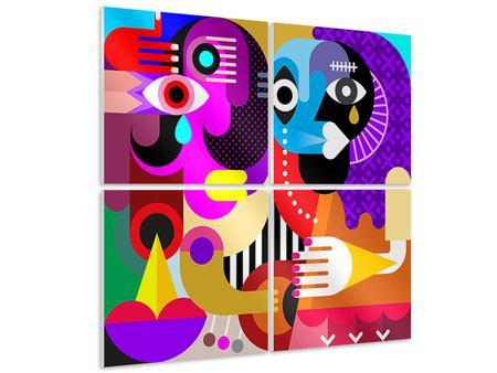 Hartschaumbild 4-teilig Moderne Kunst People