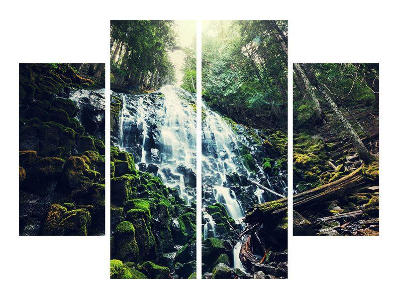 Hartschaumbild 4-teilig Feng Shui & Wasserfall