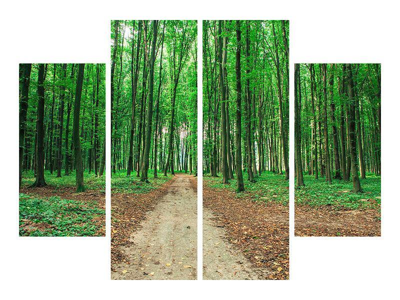 Hartschaumbild 4-teilig Tannenwald