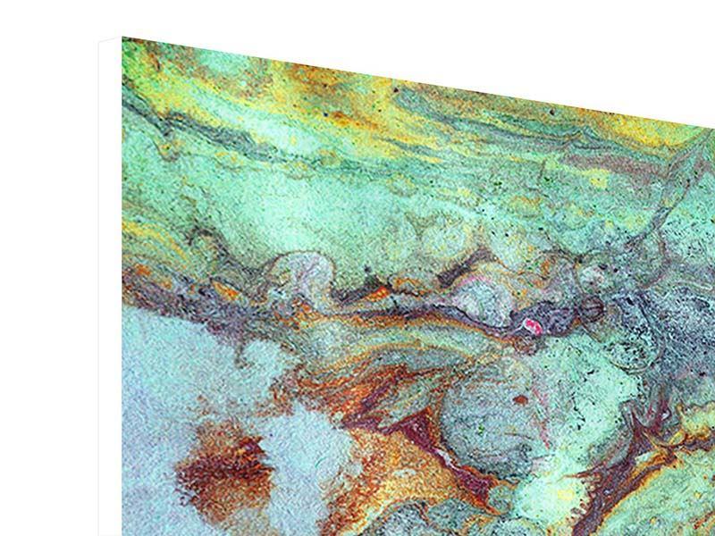 Hartschaumbild 4-teilig Marmor in Grün