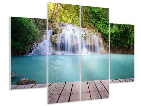 Hartschaumbild 4-teilig Terrasse am Wasserfall