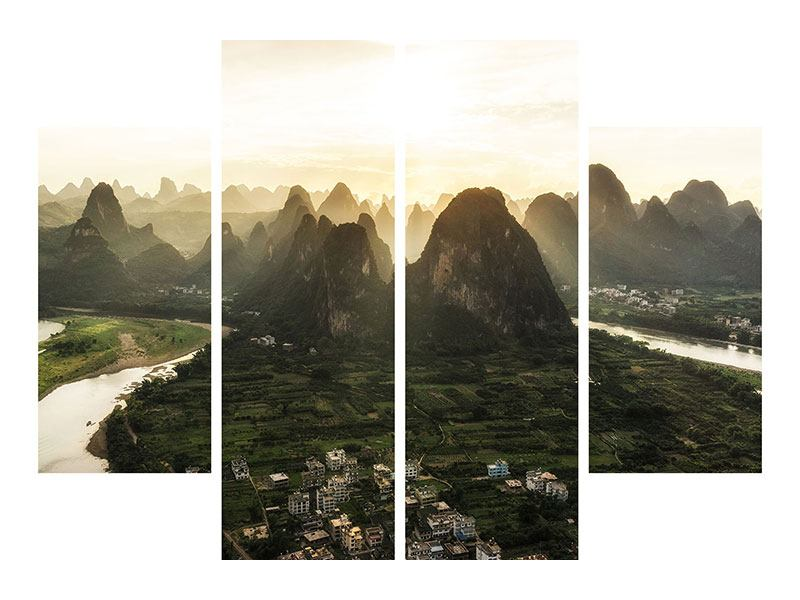Hartschaumbild 4-teilig Die Berge von Xingping