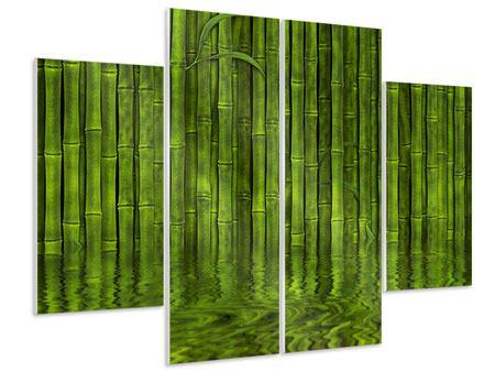 Hartschaumbild 4-teilig Wasserspiegelung Bambus