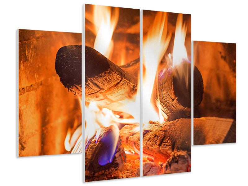 Hartschaumbild 4-teilig Kaminfeuer