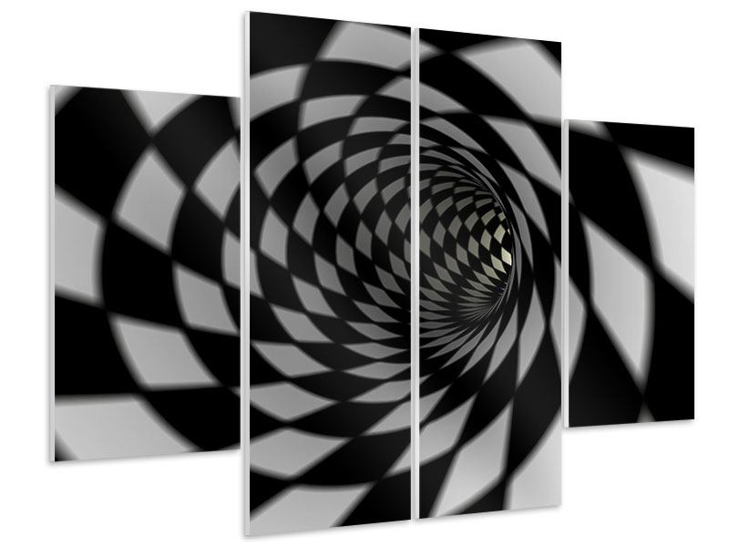 Hartschaumbild 4-teilig Abstrakter Tunnel Black & White