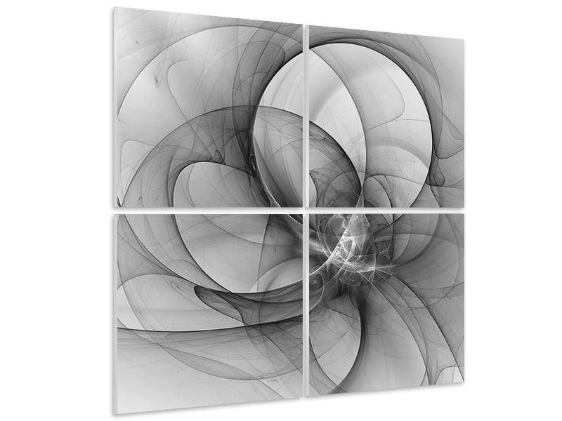 Hartschaumbild 4-teilig Abstrakte Kreisende Kreise