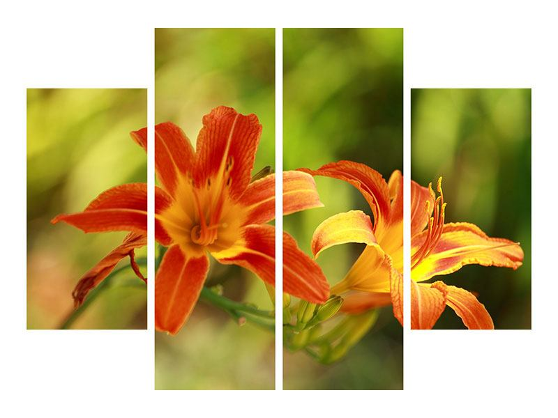 Hartschaumbild 4-teilig Natural Lilien