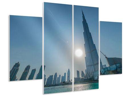 Hartschaumbild 4-teilig Wolkenkratzer-Architektur Dubai
