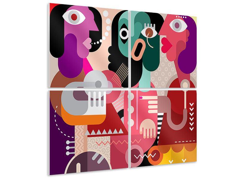 Hartschaumbild 4-teilig Moderne Kunst Frauen