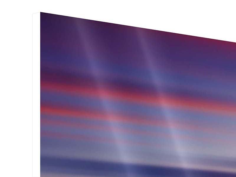 Hartschaumbild 4-teilig Majestätischer Sonnuntergang am Berggipfel