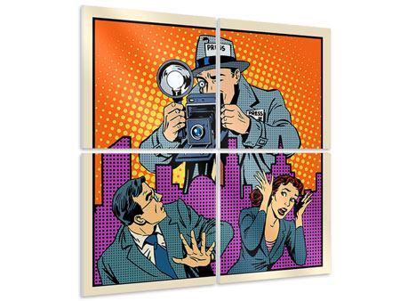 Hartschaumbild 4-teilig Pop Art Paparazzi
