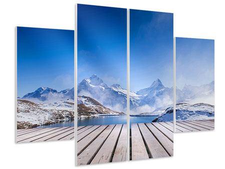 Hartschaumbild 4-teilig Sonnenterrasse am Schweizer Bergsee