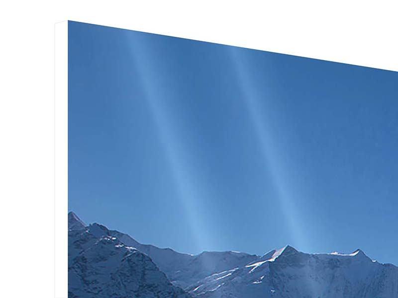 Hartschaumbild 4-teilig Sonnenterrasse in den Schweizer Alpen