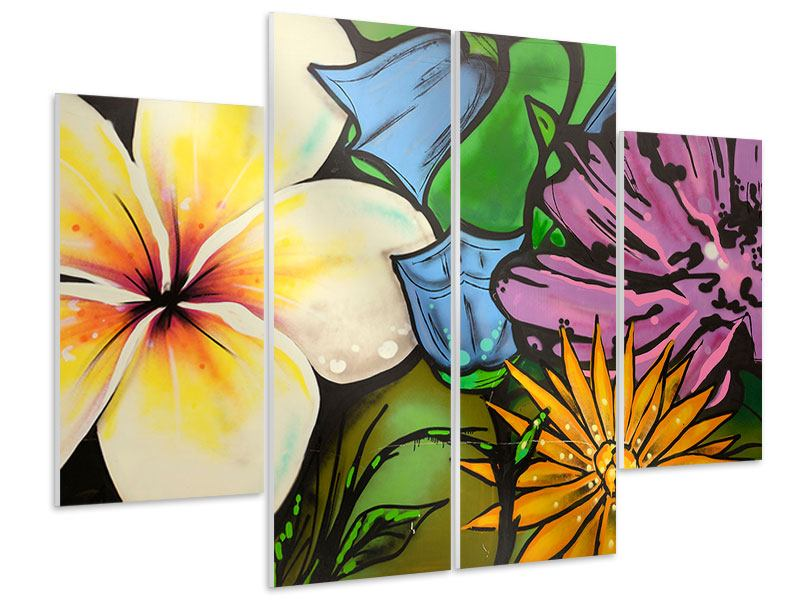 Hartschaumbild 4-teilig Graffiti Flowers