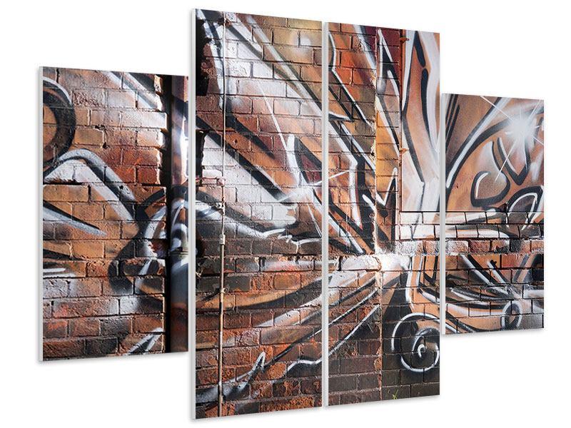 Hartschaumbild 4-teilig Graffiti Mauer