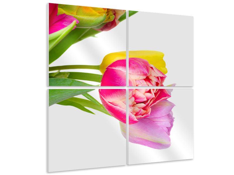 Hartschaumbild 4-teilig Ein bunter Tulpenstrauss