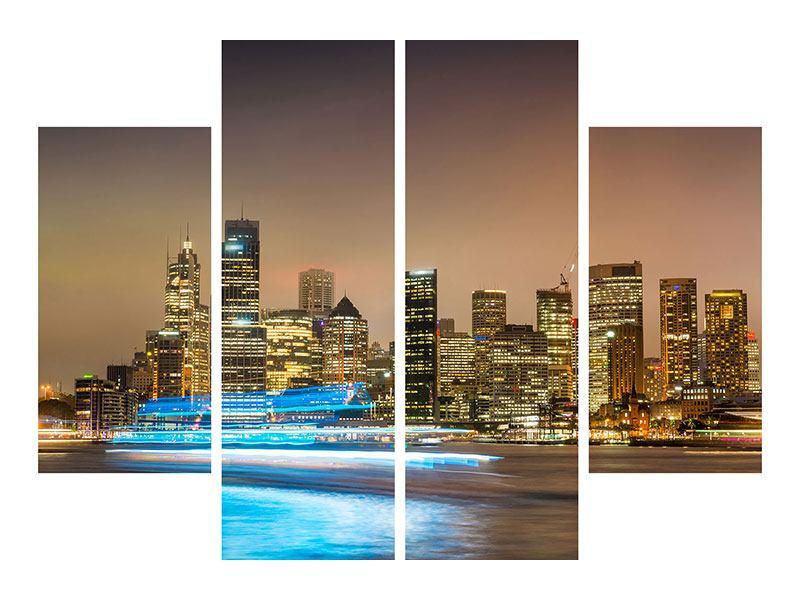 Hartschaumbild 4-teilig Skyline Sydney im Lichtermeer