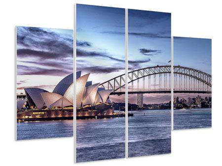 Hartschaumbild 4-teilig Skyline Sydney Opera House