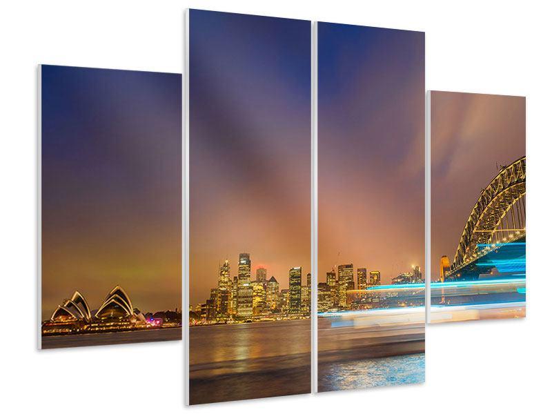 Hartschaumbild 4-teilig Skyline Opera House in Sydney im Abendlicht