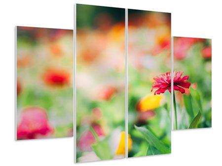 Hartschaumbild 4-teilig Im Blumengarten