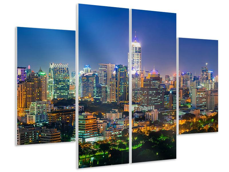 Hartschaumbild 4-teilig Skyline One Night in Bangkok