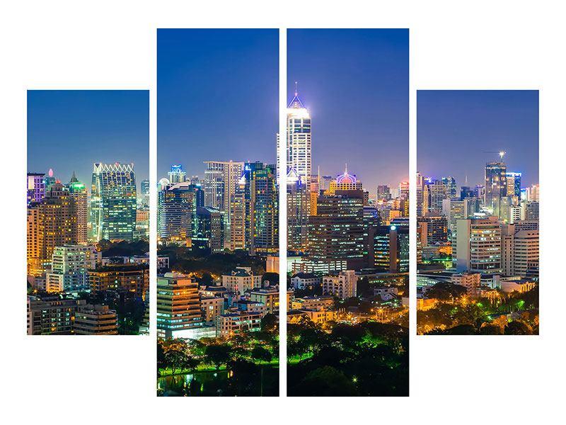 Hartschaumbild 4-teilig Skyline One Night in Bangkok