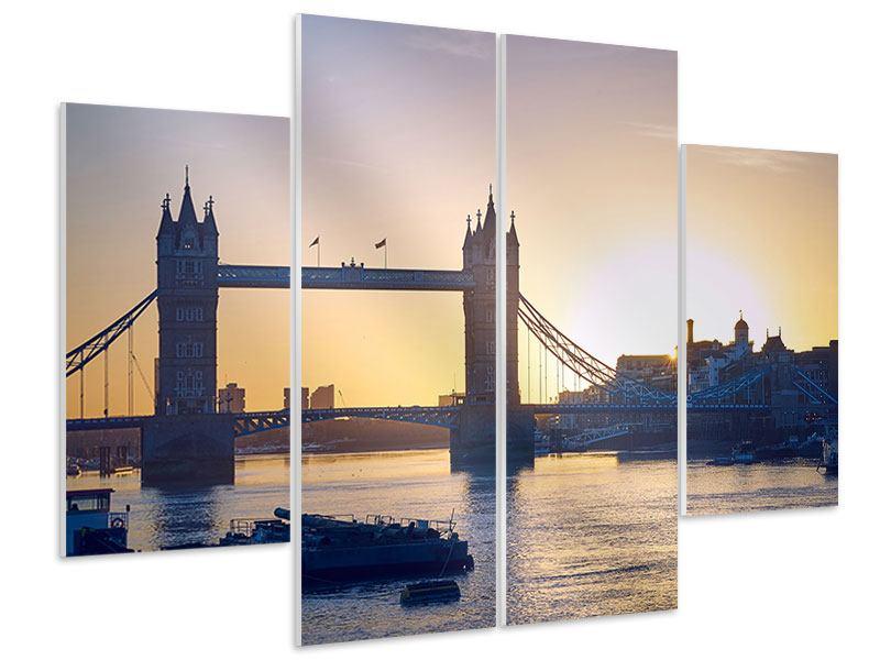 Hartschaumbild 4-teilig Tower Bridge bei Sonnenuntergang