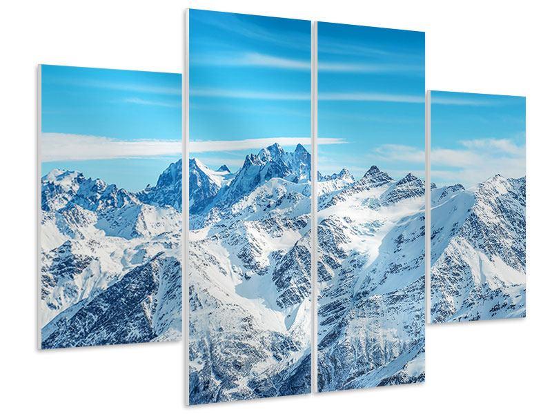Hartschaumbild 4-teilig Alpenpanorama