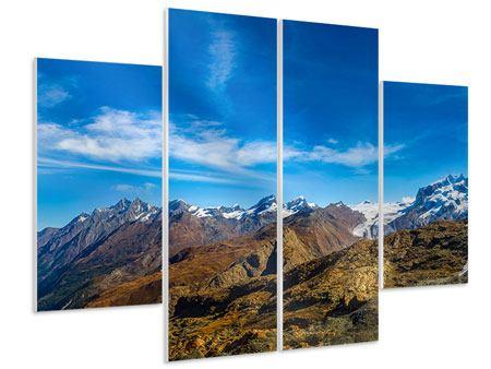 Hartschaumbild 4-teilig Schweizer Alpen im Frühling